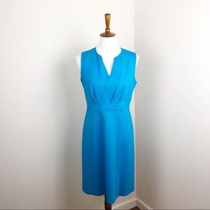Elie Tahari Aqua Blue Elicia Scuba V-Neck Dress